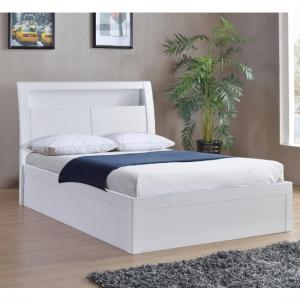 Riano Storage King Size Bed In White High Gloss