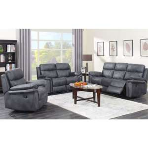 Richmond 3 Seater Sofa And 2 Armchairs Suite In Charcoal Grey