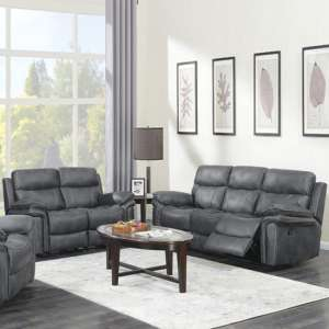 Richmond Fabric 3 And 2 Seater Sofa Suite In Charcoal Grey