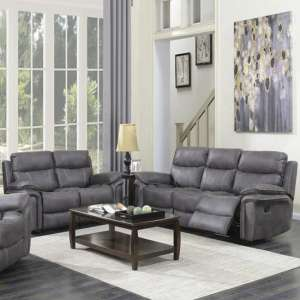 Richmond Fabric 3 And 2 Seater Sofa Suite In Graphite Grey