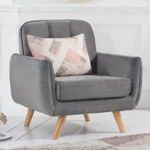 Rickey Velvet Armchair In Grey With Solid Wood Legs