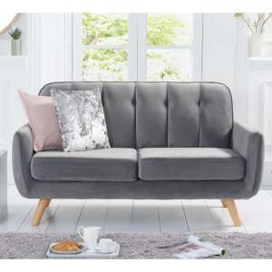 Rickey Velvet Two Seater Sofa In Grey With Solid Wood Legs
