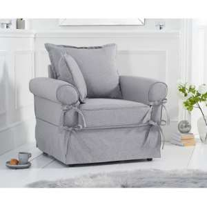 Riggs Linen Armchair In Grey With Padded Seat And Back