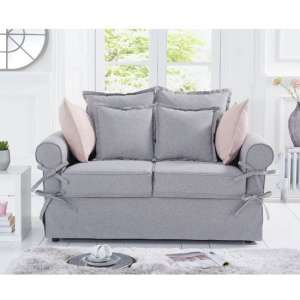 Riggs Linen Two Seater Sofa In Grey With Padded Seat And Back