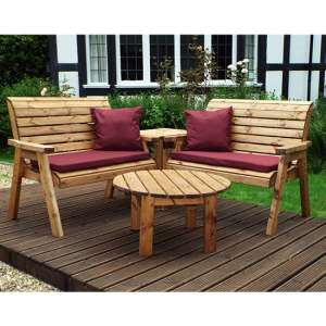 Rikot Corner 4 Seater Benches Set With Burgundy Cushion