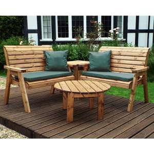 Rikot Corner 4 Seater Benches Set With Green Cushion