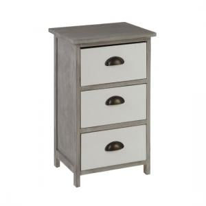 Riley Wooden 3 Drawers Chest In Grey With White Fronts