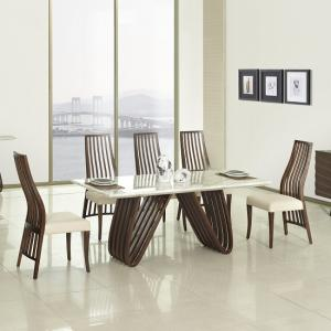 Riley Marble Dining Table In Ivory With 6 Dining Chairs