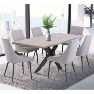 Rimini Marble Effect Dining Set In Dark Grey With 6 Rimini Chair