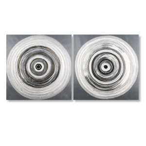 Rings Picture Set Of 2 Canvas Wall Art In Grey And White