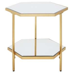 Moldoveanu 2 Shelves Side Table With In Gold Mirrored Glass Top