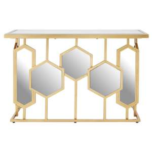 Rio Metal Console Table In Gold With Glass Top