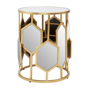 Moldoveanu Metal Side Table In Gold With Mirrored Glass Top