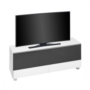Ripley TV Stand In White Matt Glass And Black Acoustic
