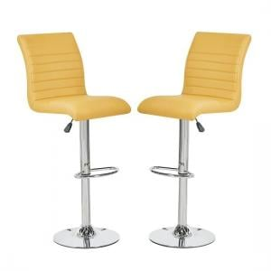 Ripple Bar Stools In Curry Faux Leather In A Pair