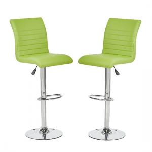 Ripple Bar Stools In Lime Green Faux Leather In A Pair