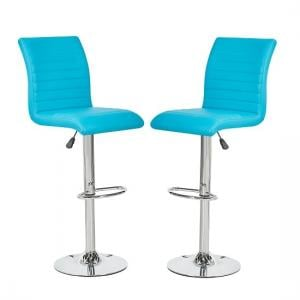 Ripple Bar Stools In Turquoise Faux Leather In A Pair