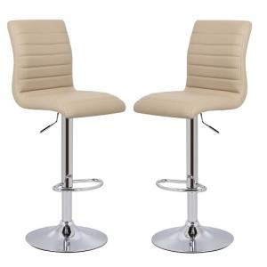 Ripple Bar Stools In Stone Faux Leather in A Pair