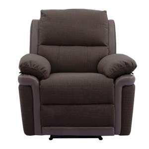 Risor Recliner Sofa Chair In Nutmeg Brown Fabric And PU