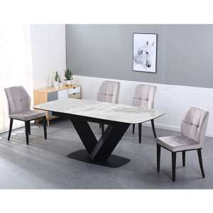 Riva Extending Ceramic Dining Table With 6 Romano Grey Chairs
