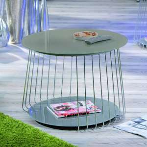 Riva Glass Coffee Table In Grey With Metal Frame