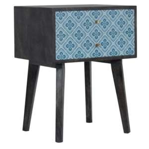 Riva Wooden Bedside Cabinet In Black And Blue Lucy Locket Print