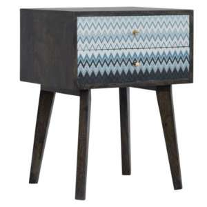 Riva Wooden Bedside Cabinet In Black And Blue Mirabelle Print