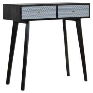 Riva Wooden Console Table In Black And Blue Mirabelle Print