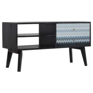 Riva Wooden TV Stand In Black And Blue Mirabelle Print