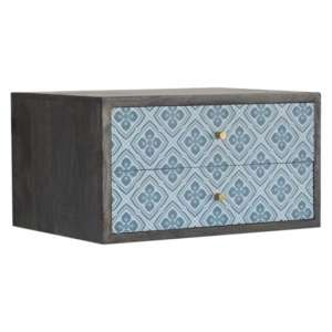 Riva Wooden Wall Hung Bedside Cabinet In Blue Lucy Locket Print