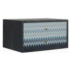 Riva Wooden Wall Hung Bedside Cabinet In Blue Mirabelle Print