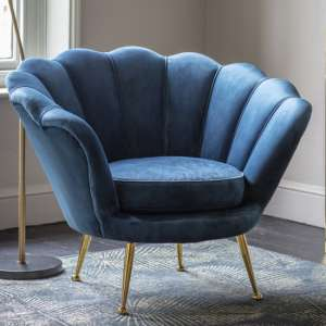 Rivello Velvet Upholstered Armchair In Inky Blue