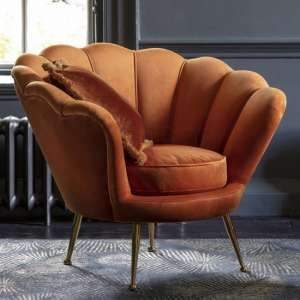 Rivello Velvet Upholstered Armchair In Rusty Orange