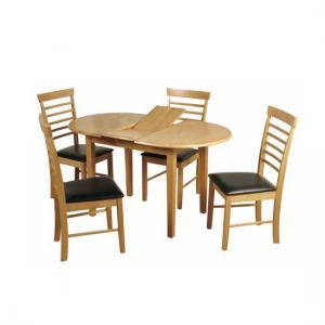 Rivero Extending Dining Table In Light Oak With 4 Chairs