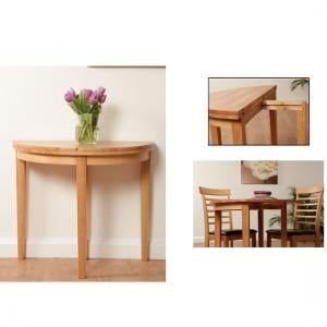 Rivero Extending Halfmoon Dining Table In Light Oak