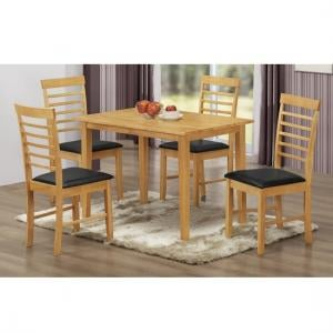 Rivero Wooden Dining Table In Light Oak With 4 Dining Chairs
