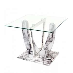Riviera Glass Lamp Table In Clear And Marble Effect Base