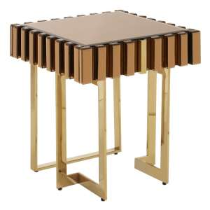 Montuno Wooden Side Table In Warm Metallic With 1 Drawer