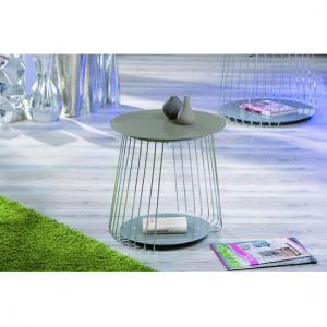 Rivoli Glass Top End Table With Satin Chrome