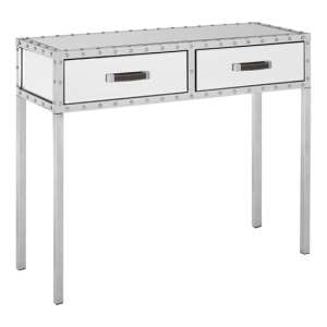 Rivota Mirrored Console Table With White Wooden Drawers