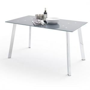 Robbie Grey Glass Dining Table With Chrome Legs