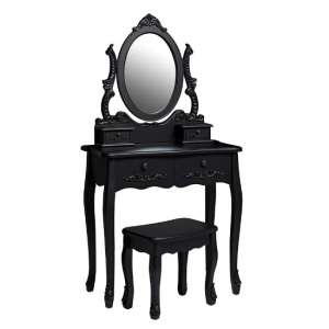 Robena Wooden Dressing Table Set In Black