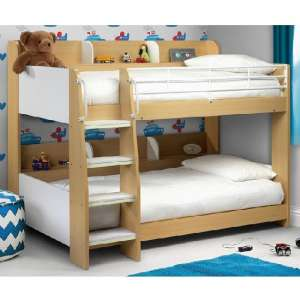 Robin Wooden Bunk Bed In Maple And White With Ladder