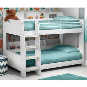 Robin Wooden Bunk Bed In White With Ladder