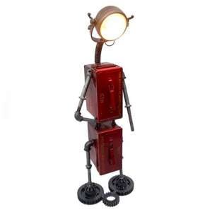 Robot Iron Floor Lamp In Red With 2 Storage Boxes