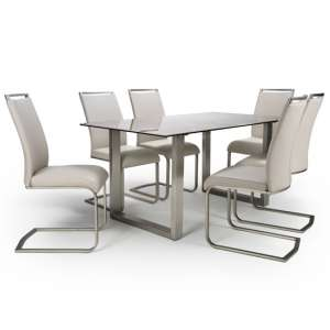 Rocca Dining Set With 6 Taupe Franklin Chairs