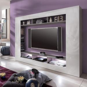 Rocco TV Entertainment Unit In White Gloss Fronts Grey With LED_1