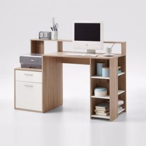 Rocco Wooden Computer Desk In Canadian Oak And White