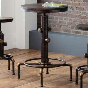 Rockport Pipework Bar Table In Brushed Copper And Rustic Elm