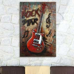 Rockstar Picture Metal Wall Art In Red And Brown